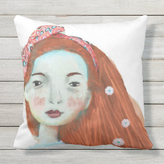 Freckles throw pillow cute red head girls room