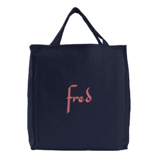 fred embroidered tote bag