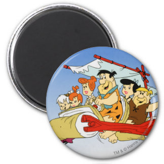 Fred Flintstone Wilma Barney and Betty PEBBLES™ 6 Cm Round Magnet
