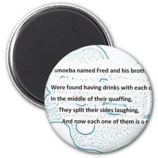 Fred The Amoeba - A SmartTeePants Science Poem 6 Cm Round Magnet
