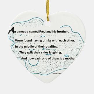 Fred The Amoeba - A SmartTeePants Science Poem Ceramic Heart Decoration