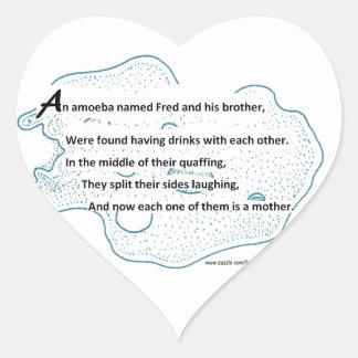 Fred The Amoeba - A SmartTeePants Science Poem Heart Sticker