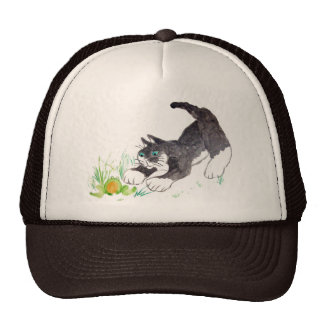 Fred, the cat, Has Found a Hoppy Thing Cap