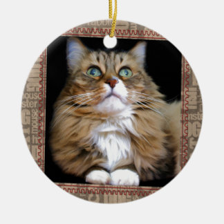 Fred the Cat Round Ornament
