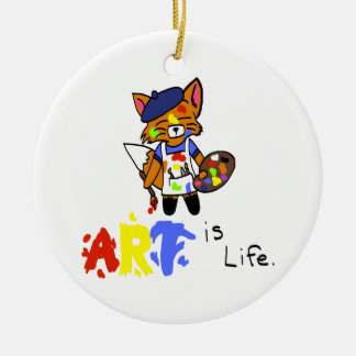 Fred the Fox- Artist Round Ceramic Decoration