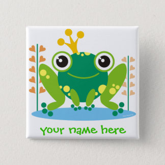 fred the froggy 15 cm square badge