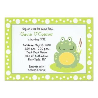 Freddy the Frog Froggy Birthday 5x7 Invitations