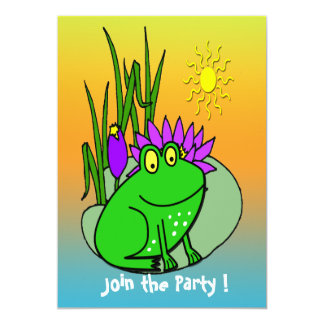 Freddy the Frog - on a Lilly Pad Kid's Invitation