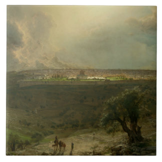 Frederic Edwin Church - Jerusalem from the Mount Large Square Tile