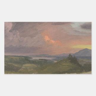 Frederic Edwin Church -Sunset in the Hudson Valley Rectangular Sticker