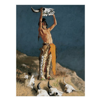 "Frederic Remington Art ""Conjuring Back the Buffalo Poster"