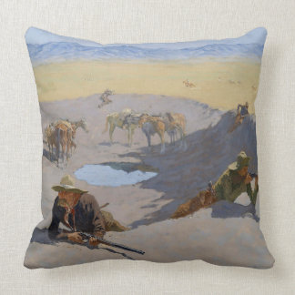 "Frederic Remington Art""Fight For The Waterhole"" Cushion"