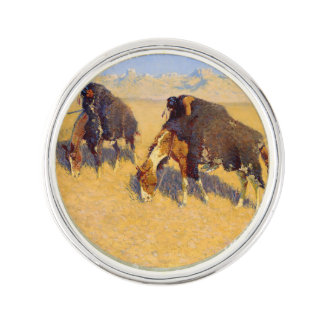 Frederic Remington Art Indians Simulating Buffalo Lapel Pin
