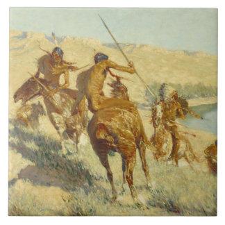 Frederic Remington - Episode of the Buffalo Gun Ceramic Tile