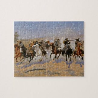 "Frederic Remington Painting ""Dash For The Timber"" Jigsaw Puzzle"