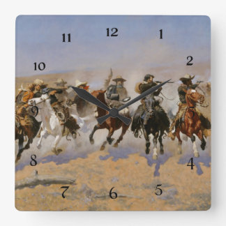 "Frederic Remington Painting ""Dash For The Timber"" Square Wall Clock"