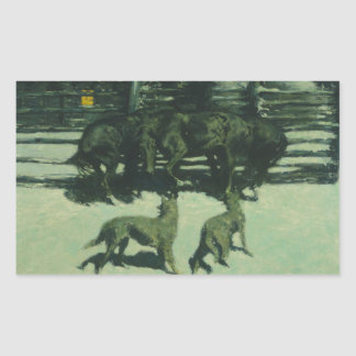 Frederic Remington - The Call for Help Rectangular Sticker