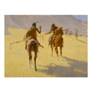 """Frederic Remington Western Art """"The Parley"""" Poster"""