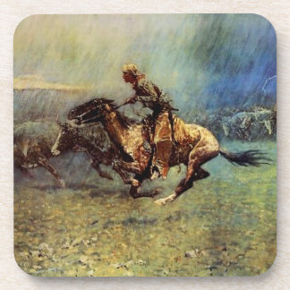 """Frederic Remington Western Art """"The Stampede"""" Drink Coasters"""