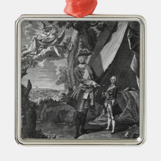 Frederick II  and His Nephew Frederick William Silver-Colored Square Decoration