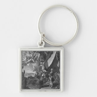 Frederick II  and His Nephew Frederick William Silver-Colored Square Key Ring