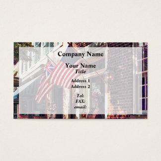 Fredericksburg VA - Street With American Flags Business Card