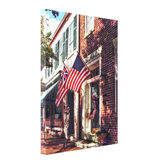 Fredericksburg VA - Street With American Flags Canvas Print