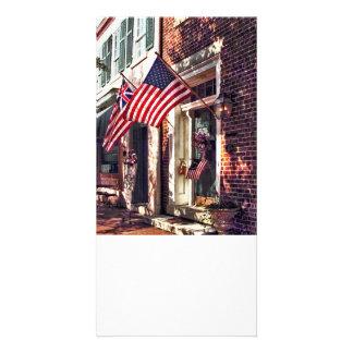 Fredericksburg VA - Street With American Flags Card
