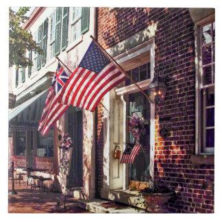 Fredericksburg VA - Street With American Flags Ceramic Tile