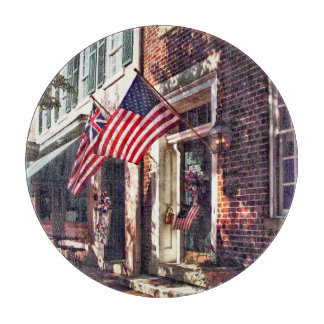 Fredericksburg VA - Street With American Flags Cutting Board