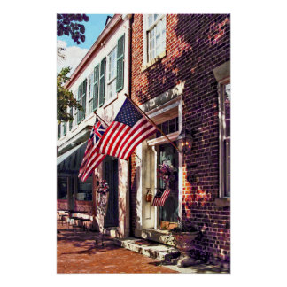 Fredericksburg VA - Street With American Flags Poster