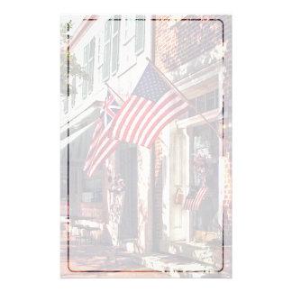 Fredericksburg VA - Street With American Flags Stationery