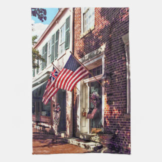 Fredericksburg VA - Street With American Flags Tea Towel