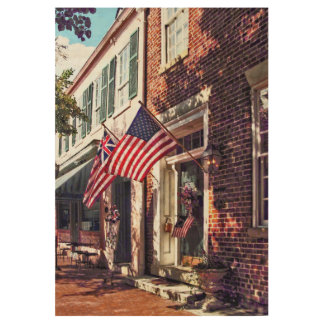 Fredericksburg VA - Street With American Flags Wood Poster