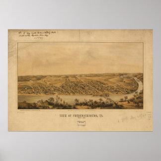 Fredericksburg Virginia 1863 Antique Panoramic Map Poster