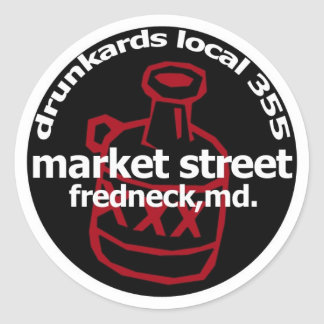 Frednecks Drunkard Decal (sheet of 6) Classic Round Sticker