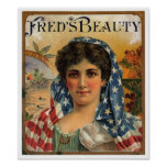 Fred's Beauty Cigar Label Poster