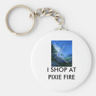 free 3, I SHOP AT   PIXIE FIRE Basic Round Button Key Ring
