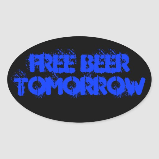 FREE BEER OVAL STICKERS