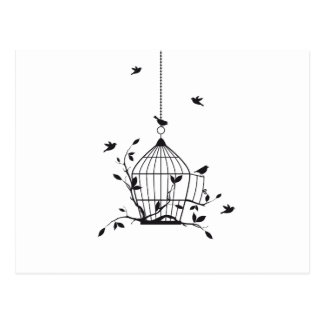 Free birds with open birdcage postcard