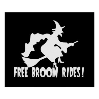 Free Broom Rides Funny Witch Posters