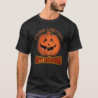 Free Candy Day Happy Halloween Funny Party T-shirt