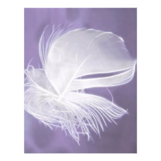 Free Falling feather on purple background Personalized Flyer