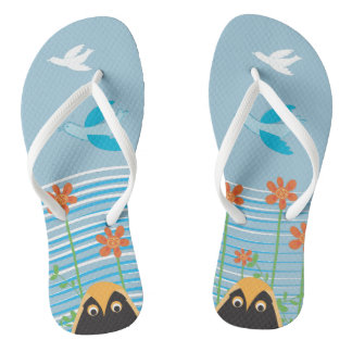 Free Flying with Lucky OWLS Flip Flops Thongs