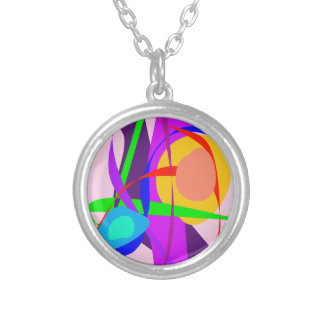 Free Forms and Lines Pink Purple Abstract Painting Jewelry
