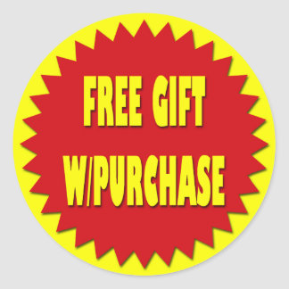 FREE GIFT WITH PURCHASE RETAIL SALES LABEL ROUND STICKER