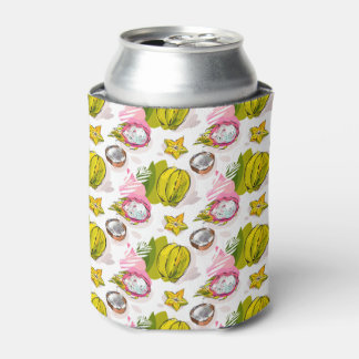 Free Hand Textured Fruit Pattern Can Cooler