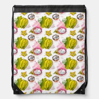Free Hand Textured Fruit Pattern Drawstring Bag