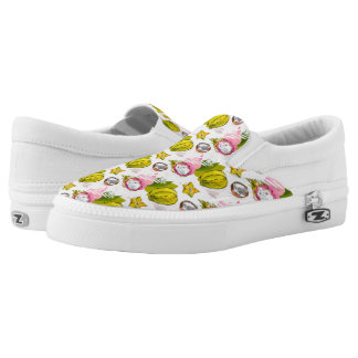 Free Hand Textured Fruit Pattern Slip-On Shoes