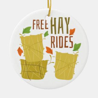 Free Hay Rides Ceramic Ornament